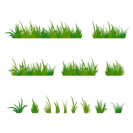 Set of green tufts grass, herbaceous plants. Design elements isolated on white background. Vector illustration. Ilustração