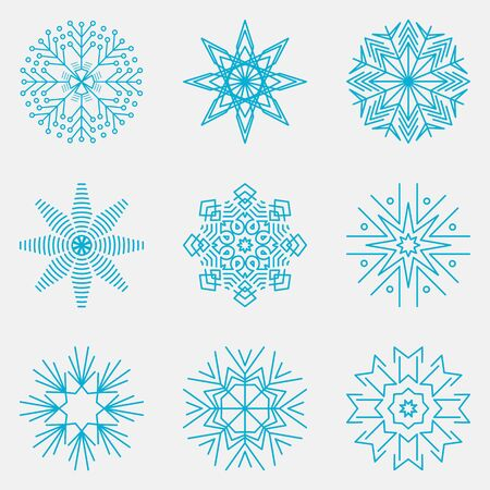 Snowflakes Set, Snow-flakes winter collection, vector illustration