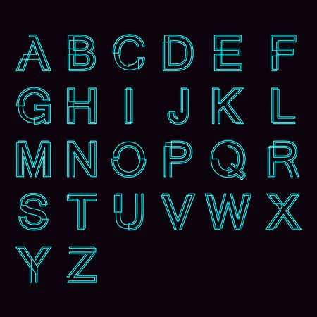 Modern linear typographic alphabet in a set. Contains vibrant colors and minimal design. Letters from A to Z. Vector Illustration. 向量圖像