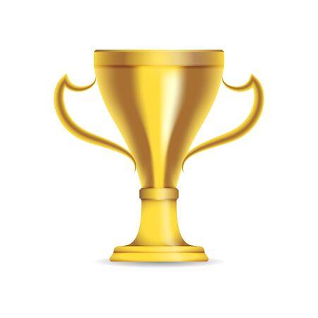 Gold trophy cup. Vector illustration. 矢量图像