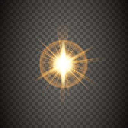 Glowing lights effect, flare, explosion and shining stars. Light effect isolated on transparent background. Vector illustration.