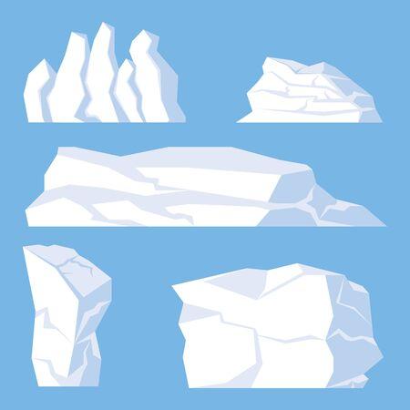 Blue background cartoon Icebergs Set. Design for video games. Arctic. Antarctic. Vector Illustration.