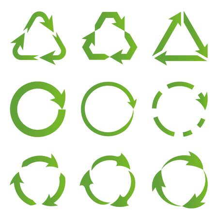 Set of flat green recycling symbols of ecologically pure funds. Arrows. Ecological symbols. Green vector collection vector image.