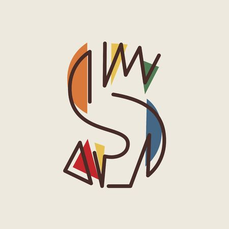 The letter S of the alphabet in modern geometric style. Abstraction. Design element template. Vector illustration.