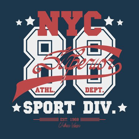 New York  Sport wear typography emblem, t-shirt stamp graphics, vintage tee print, athletic apparel design graphic print - vector