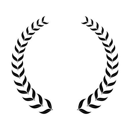 laurel wreath, heraldic design, black icon