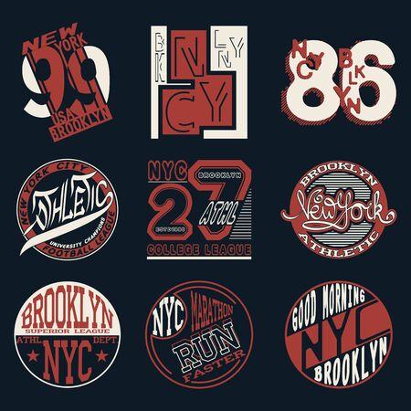 New York City Typography Graphics set, T-shirt Printing Design; NYC original wear, Vintage Print for sportswear apparel.