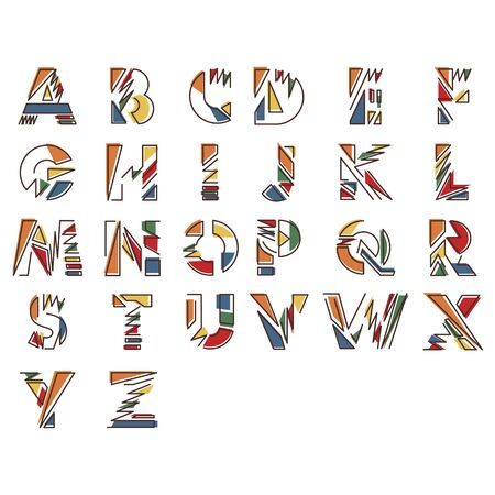 Modern linear typographic alphabet in a set. Contains vibrant colors and minimal design. Letters from A to Z. Vector Illustration. Vetores