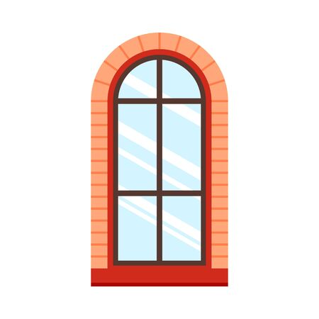 Detailed wooden window frame view isolated on house wall. Architecture design outdoor or exterior view, building and home theme. Vector illustration.