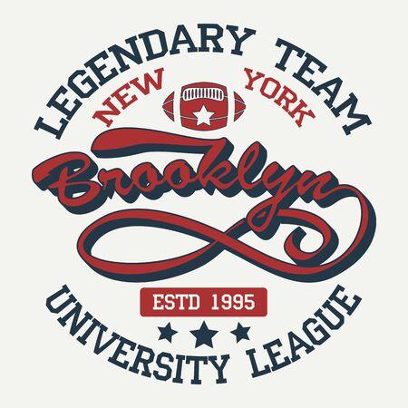 New York Brooklyn Sport wear typography emblem, t-shirt stamp graphics, tee print, athletic apparel design. Vector illustration.
