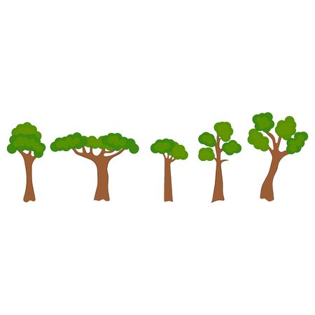 Tree design elements. Collection of various trees. Vector Illustration.