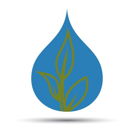 Icon of a drop of water with a growing plant. Fully editable vector image.
