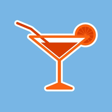 Icon of the cocktail. Alcoholic beverage. Fully editable vector image.