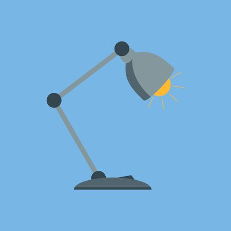 Table lamp in a flat style. Desk lamp icon. Fully editable vector image