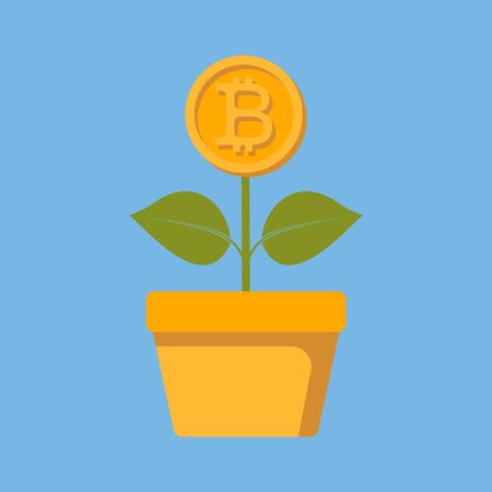 The concept of bitcoin growth. A plant with a growing bitcoin. Blockchain. Flat style. Vector image.