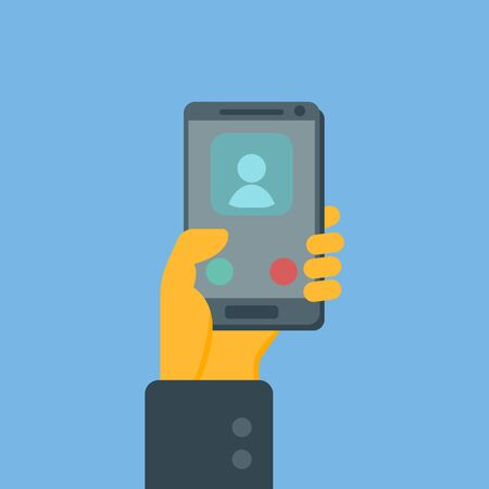 Smartphone in hand. Incoming call. Vector image.
