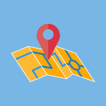 A map with a red marker. Location indicator. Pointer of the destination. Fully editable vector image.