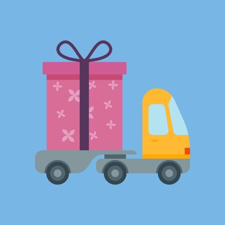 Car delivery with gift box. The concept of free shipping. Delivery service. Flat style. Fully editable vector image.