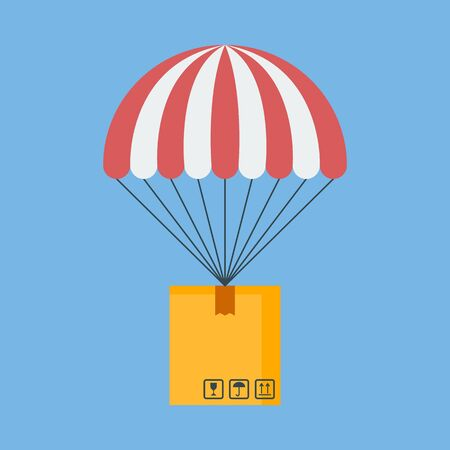 Concept for delivery service.  Package flying down from sky with parachute. Vector illustration. Flat design. 向量圖像