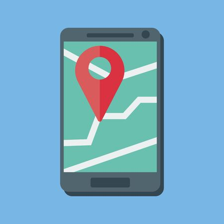 Smartphone concept with an online map. Location indicator. A map with a red marker. Location indicator. Vector image.