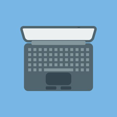 A laptop icon. View from above. Vector image.