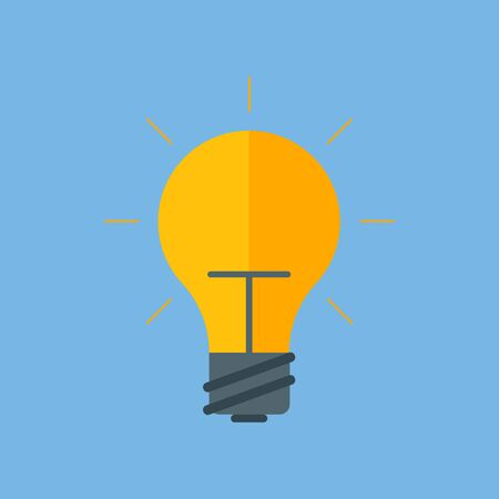 Concept ideas. Light bulb icon. Incandescent lamp. Flat style. Vector image.