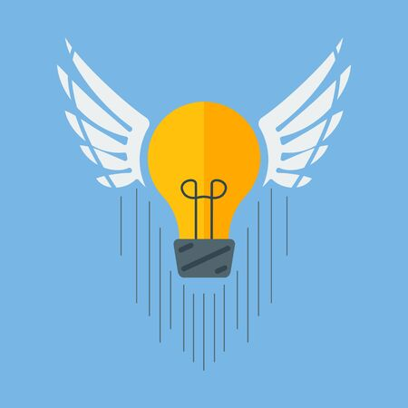 Conceptual idea. A bulb icon with wings. Flight ideas. Vector image.
