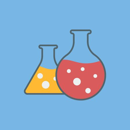 Vector icon of laboratory flasks. Laboratory test. Chemical experiment.