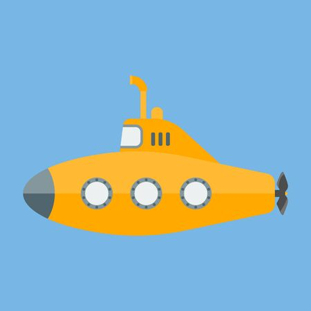 Vector yellow submarine with periscope. Flat design. Fully editable vector image.  Ilustração