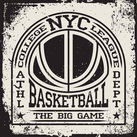 Creative vintage t-shirt graphic design, grange print stamp, basketball typography emblem, sports, Vector.