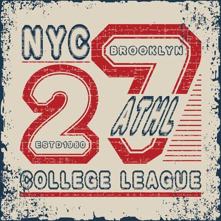 New York  Sport wear typography emblem, t-shirt stamp graphics, tee print, athletic apparel design. Vector illustration. 向量圖像