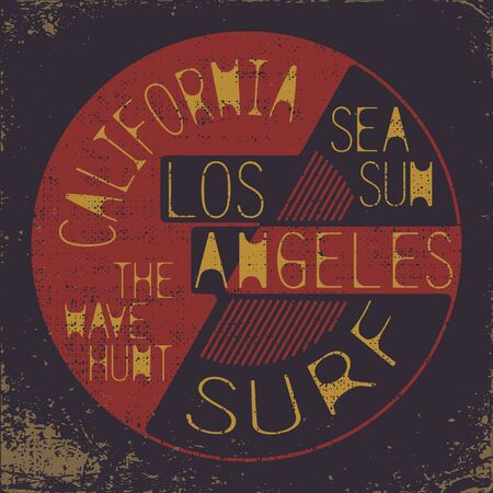 California surf wear typography emblem. Surfing t-shirt graphic design. Surfers print stamp. Creative design. Vector.