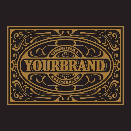 Antique label, vintage frame design, typography, retro template, vector