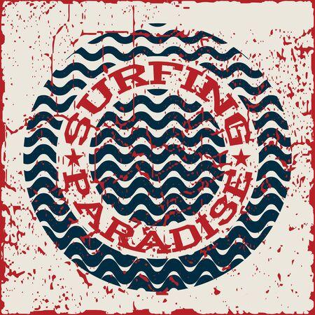 Surfing paradise wear typography emblem. Surfing t-shirt graphic design. Surfers print stamp. Creative design. Vector.
