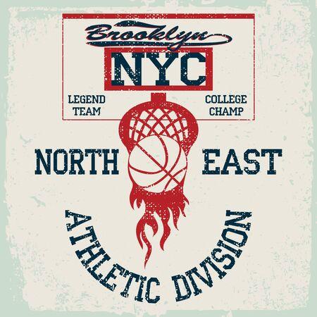 New York Basketball Team t-shirt graphics, american College Championship grunge Emblem, Basket Ball with laurel wreath Sport Athletics typography stamp.