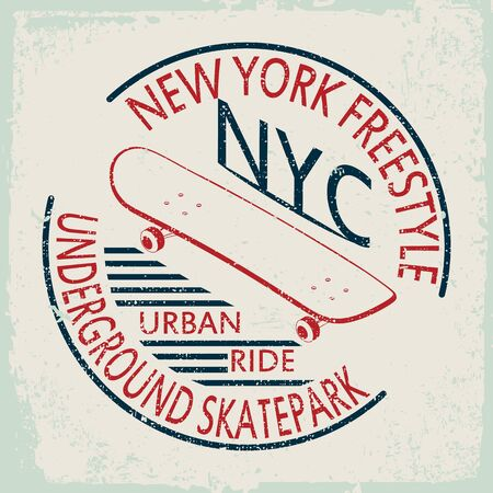 New York Skate typography sports graphics for t-shirt, vectors
