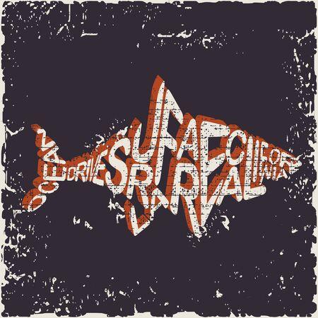 Shark Attack surfing stamp. Surfing t-shirt graphic design. California surfers wear typography emblem. Creative design.