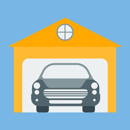 Vector icon of garage, parking. The concept of real estate is a garage and a car.