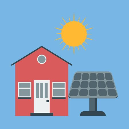 Vector icon solar panel. House and sun. Green, alternative, renewable energy. Ilustracja