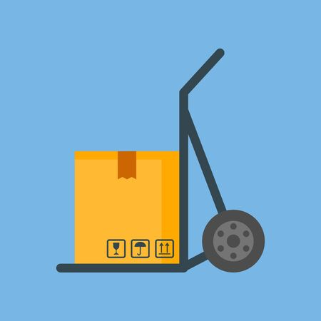 Concept of delivery service. The icon for the package. Shipping on a trolley for cargo. Vector image.