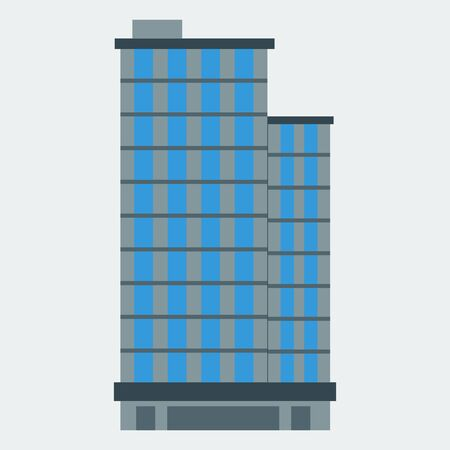 A skyscraper icon. A building, a modern house, an office, an apartment house. Flat style. Vector  イラスト・ベクター素材
