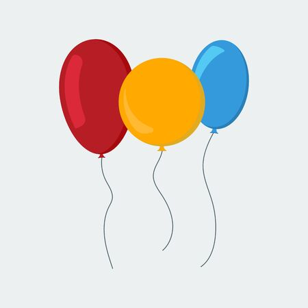 Multi-colored balloons in a flat style isolated on white background. Vector