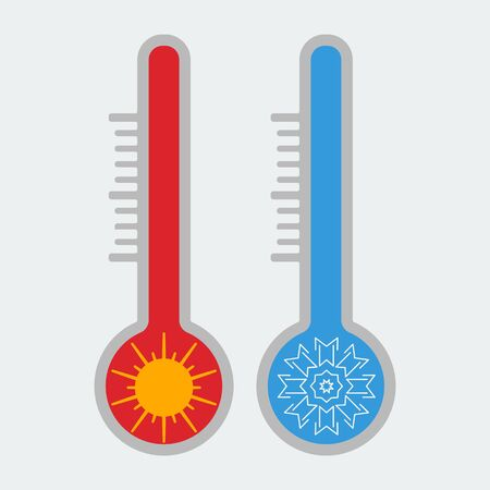Thermometer icon. Hot and cold. Summer and winter. Vector 向量圖像