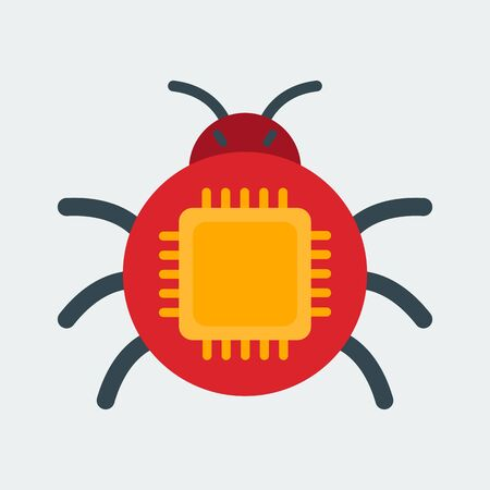 Computer bug icon. The symbol of the abduction of intellectual property. The concept for the web and mobile applications. Flat style. Vector