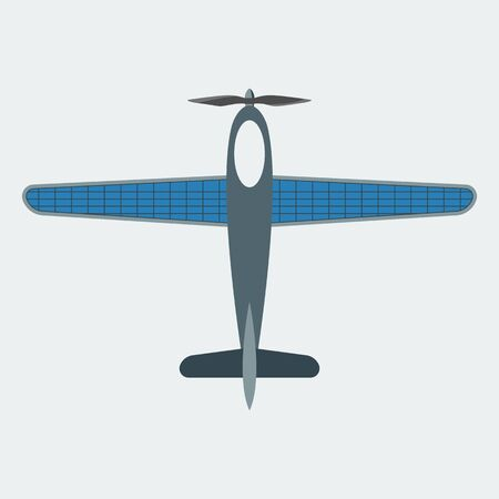 The icon of the aircraft working on solar panels. Symbol of using green energy. Flat style. Vector.