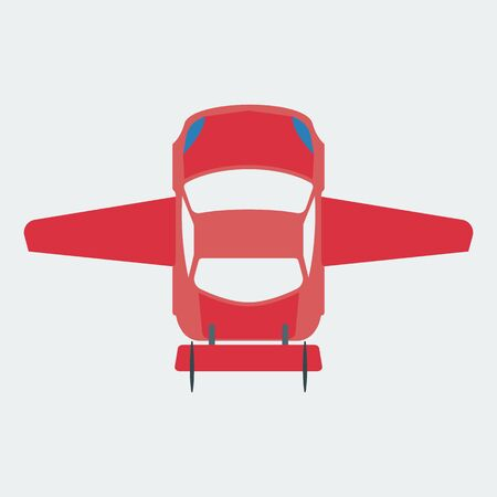 Car icon moving through the air. Flying car. The concept of the future movement of cars. Flat style. Vector
