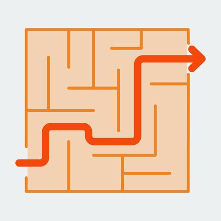 Icon of the labyrinth. A symbol of a puzzle or puzzle game. Flat style. Vector.