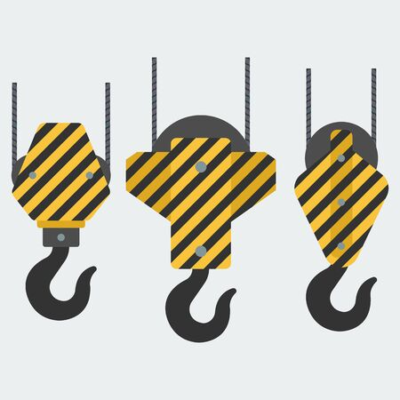 Set of vector crane hooks. A set of hooks in a flat style for web design or printing, etc