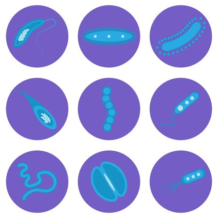 A set of vector images of bacterial microorganisms, viruses, microbes.