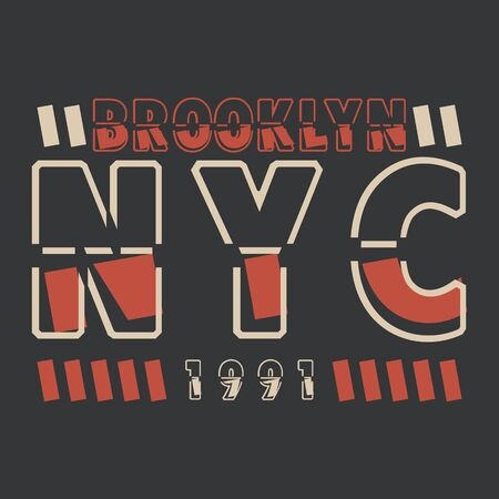 New York, Brooklyn. Procurement for the design of a T-shirt, banner, poster and so on. Vector image. 向量圖像